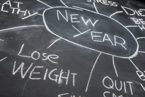 New years resolutions on a blackboard, lose weight, future target